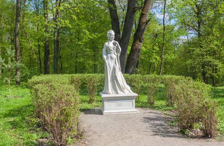 alexandra: UKRAINE, BELAYA TSERKOV - APRIL 18, 2016: Sculptural portrait of Alexandra Branitskaya, niece of Potemkin, the maid of honor of Catherine II, the founder of the park Alexandria in the Park of Alexandria in Belaya Tserkov, Ukraine