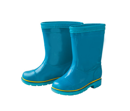 Blue rain boots on a white background isolated Stock Photo