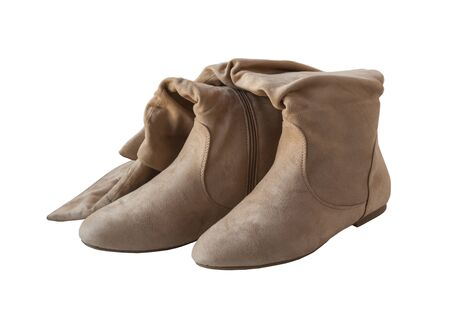 jackboots: Suede boots jackboots beige color on a white background isolated