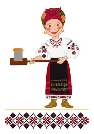 Mujer en un traje nacional ucraniano hornear la torta de Pascua Ilustración de vector