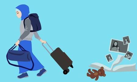 emigration: Girl in Muslim clothing leaving the family home. Emigration. Illustration
