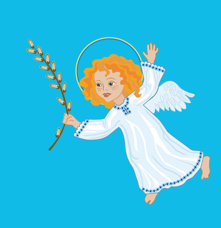 osier: Angel with awillow branch, symbolic image of Palm Sunday, the victory over death
