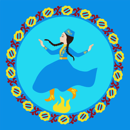 rite: Crimean Tatar girl in costume jumping through fire. The ritual holiday H?d?rellez Illustration