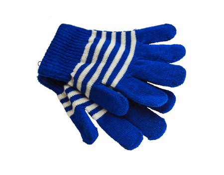 spliced: A pair of woolen  blue children winter gloves isolated on white background