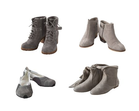 pairs: four pairs of womens shoes gray on a white background