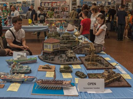 festival scales: KIEV, UKRAINE - MAY 29, 2016: The May 28-29 was held an annual festival of stand modeling - Kyiv Scale Models Fest 2016, Kiev, Ukraine. The stand exhibition Navy