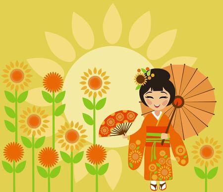 Beautiful Japan girl at the festival of sunflowers (Himawari Matsuri)