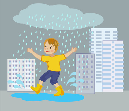 puddles: Joyful boy runs through the puddles under the summer rain in the city