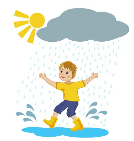 puddles: Joyful boy runs through the puddles under the warm summer rain
