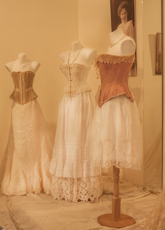 KIEV, UKRAINE - OCT12: Lingerie, corsets end of the 19th century are on display at the museum exhibit of Marina Ivanovas private collection of vintage clothes  Oct.12, 2016 in Kiev, Ukraine.
