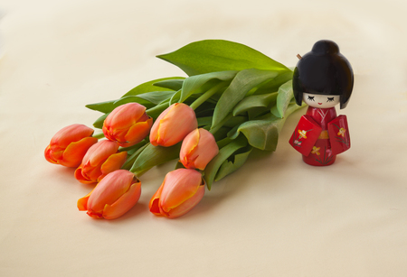 contemplation: The concept of a Japanese contemplation tulips bloom. Hanami. (Mass-produced product) Stock Photo