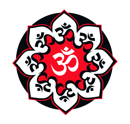 mantra: Eight-mandala black-red with the mantra Aum (Om) symbol  enlightenment on a white background