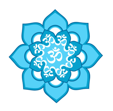 mantra: Eight-mandala blue with the mantra Aum (Om) symbol  enlightenment on a white background