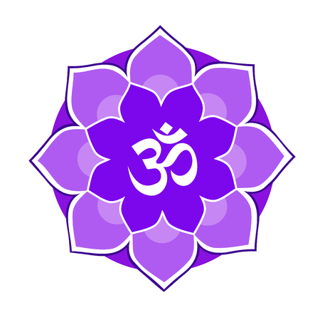 om sign: Eight-mandala purple with the mantra Aum (Om) symbol of creativity and enlightenment on a white background