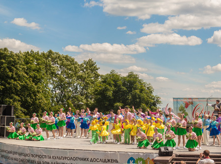 KIEV, Ukraine-12 June 2016: Dance performances of childrens groups in the flower show at Spivoche  Pole in Kiev, Ukraine