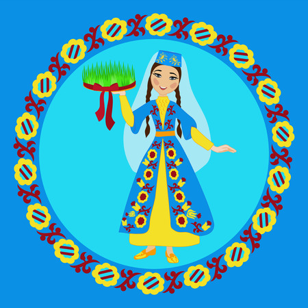 Crimean Tatar girl in folk costume holding sabzeh (symbols of Nowruz) in ornamental circle
