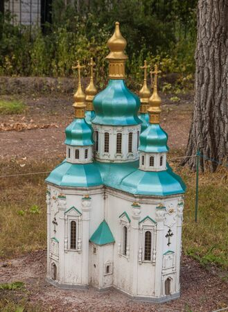 entertaiment: KIEV, UKRAINE - JULY 3, 2016: Entertaiment Park Ukraine in Miniature (Small scale Ukraine).Model of the St. Georges Cathedral in Vydubychi Monastery in Kiev, Ukraine