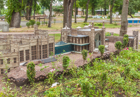 KIEV, UKRAINE - JULY 3, 2016:  Entertaiment Park Ukraine in Miniature (Small scale Ukraine). Model of Vorontsov Palace or Alupka Palace is an historic palace situated of Crimea, in Kiev, Ukraine