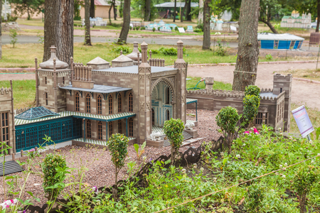 vorontsov: KIEV, UKRAINE - JULY 3, 2016:  Entertaiment Park Ukraine in Miniature (Small scale Ukraine). Model of Vorontsov Palace or Alupka Palace is an historic palace situated of Crimea, in Kiev, Ukraine