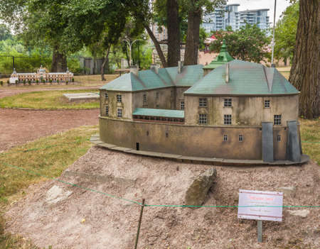 KIEV, UKRAINE - JULY 3, 2016: Entertaiment Park Ukraine in Miniature (Small scale Ukraine). Model of the Olesko Castle first historical records  are in a document dated 1327, in Kiev, Ukraine Editorial