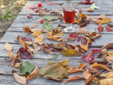Leaves on the table and the glass with mulled wine on autumn day Stock Photo