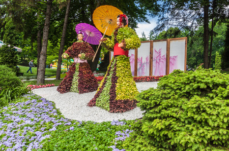 KYIV, UKRAINE - MAY 27, 2017: 26 May - 2 July at Spivoche Pole   festival of flowers Japan through the eyes of Ukraine is dedicated to the Year of Japan in Ukraine, Kiev. Editorial