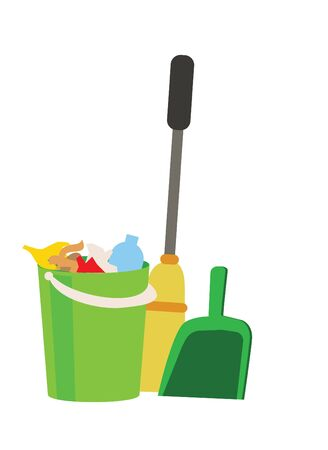 pail tank: Green bucket with garbage, scoop and broom on white background. The concept of cleaning.