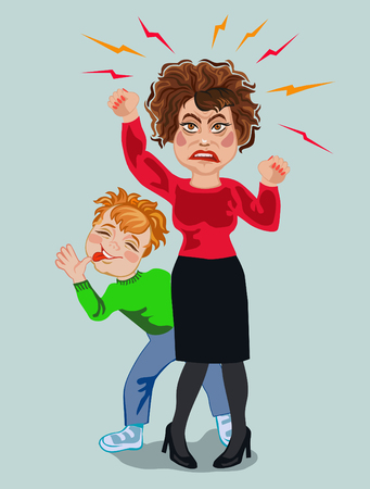 Aggressive angry woman with a teasing child behind her