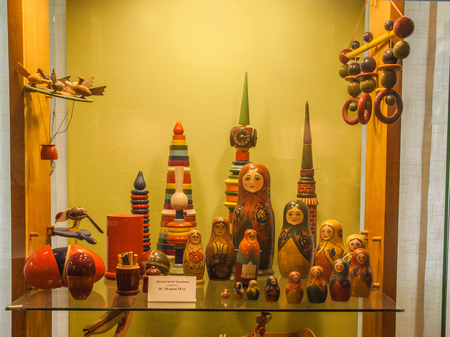 Kiev, Ukraine - Aug 1, 2017: Wooden didactic toys of 50-70s for development of logic and motor skills in the Toy Museum, Kiev, Ukraine