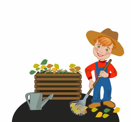 Gardener rakes the leaves in a compost box Illustration