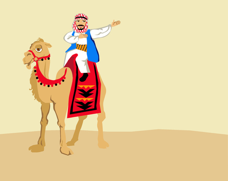 Happy smiling arab in white thobe and keffiyeh riding on camel, decorated with red carpet.