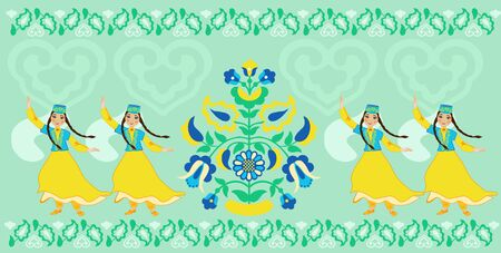 Girls in a folk costume dancing vector Illustration