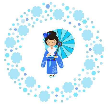 Japanese girl in a kimono admires the falling snow (Yukimi) in the circle of snowflakes