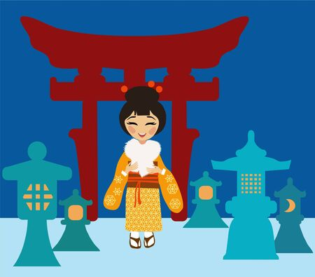 Japanese woman near lanterns made of snow  on torii  background