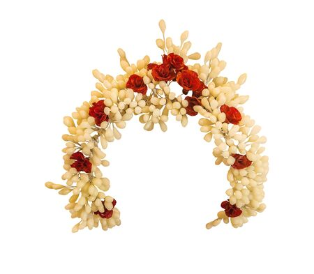 Ukrainian wedding wreath made of wax on white is isolated