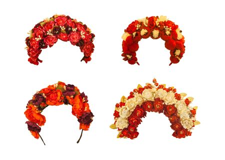 Set of ukrainian wreaths of red and white flowers   on white background isolated