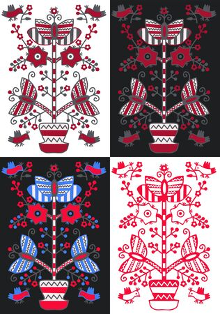 Set Ukrainian and Polish traditional folk ornament