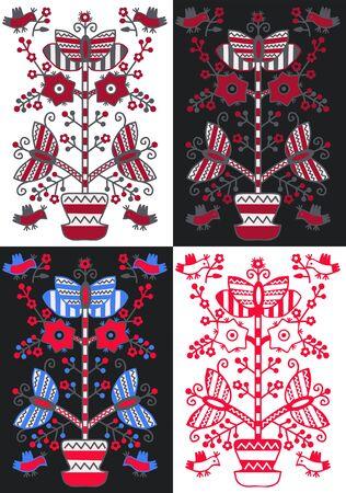 "Set Ukrainian and Polish traditional folk ornament ""Tree of Life""."