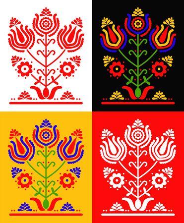 Set Ukrainian and Polish traditional folk ornament