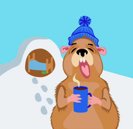 Groundhog Day, 2 February. A comic illustration with a marmot and a cup of coffee.