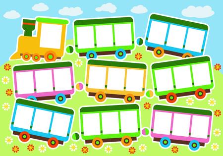 Vector Illustration eines Spielzeugzugs, des Karikaturzugs, des Hintergrundes für Grußkarten, des Albums oder des Fotos der Kinder Vektorgrafik