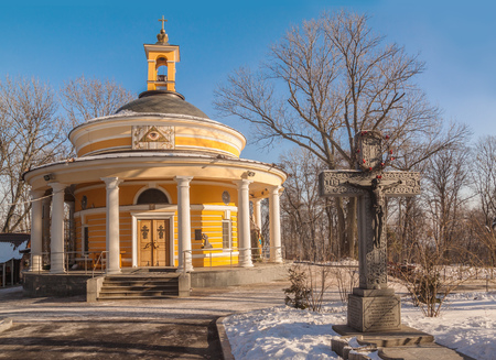 KIEV, UKRAINE - JAN 26, 2018: This is the Greek Catholic Church of St. Nicholas, which is located in the legendary tract of