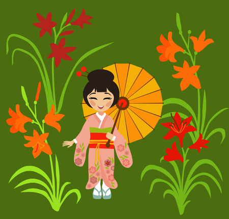 Young Japanese girl in traditional kimono admires flowering daylily