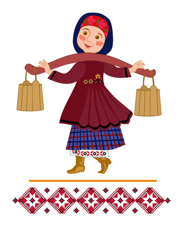 Girl carrying two heavy pails filled with water suspended from a shoulder yoke on her. Ornamental illustration for a folk song.