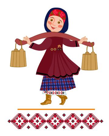 Niña cargando dos pesados cubos llenos de agua suspendidos de un yugo en el hombro. Ilustración ornamental para una canción popular.