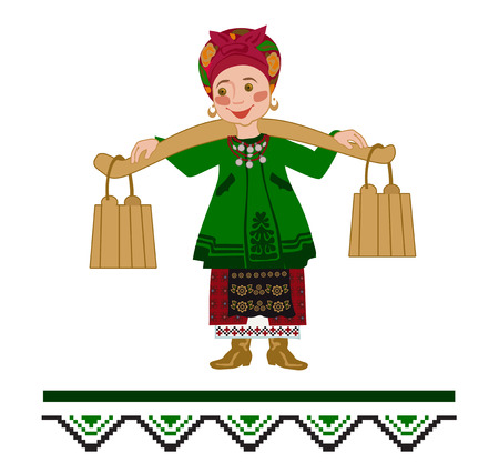 Woman carrying two heavy pails filled with water suspended from a shoulder yoke on her. Ornamental illustration for a folk song. Imagens - 112037880