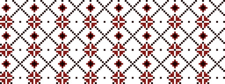 Ukrainian traditional pattern in black and red embroidery Vettoriali