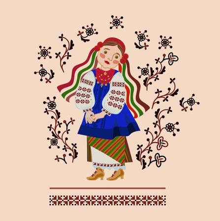 chica en un traje ucraniano en un fondo de un adorno Ilustración de vector
