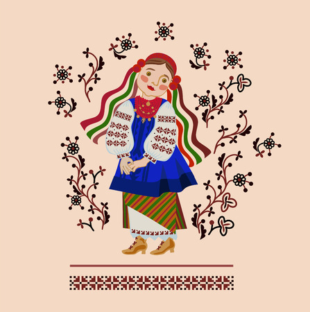 Girl in a Ukrainian costume on a background of an ornament