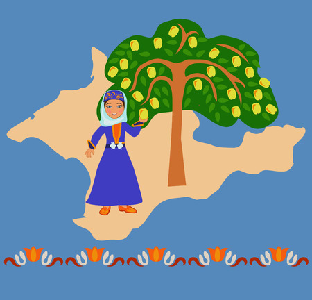 Girl in the Tatar national costumes near a local apple varieties in the background silhouette of the Crimea